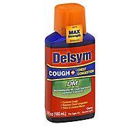 Delsym Cough + Chest Congestion Medicine DM Max Strength Cherry Flavored - 6 Fl. Oz.