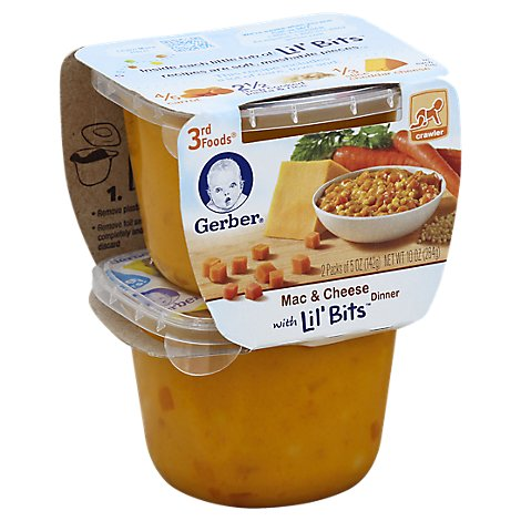 Gerber 3rd Foods Baby Food Lil Bits Dinner With Mac & Cheese - 2-5 Oz