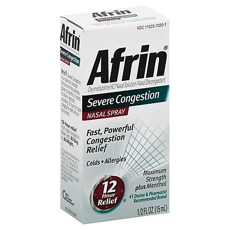 Afrin Nasal Spray Severe Congestion Maximum Strength - 0.5 Fl. Oz.