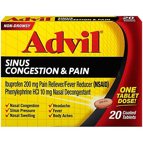 Advil Ibuprofen Tablets 200mg Sinus Congestion & Pain Non-Drowsy Coated - 20 Count