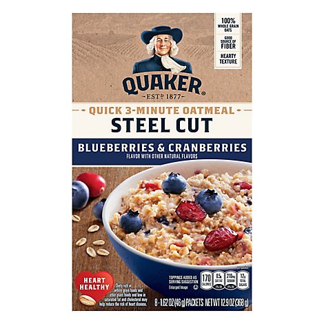 Quaker Oatmeal Steel Cut Quick 3-Minute Blueberries & Cranberries - 8-1.62 Oz