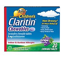 Claritin Childrens Antihistamine Tablets Indoor & Outdoor Allergies 5mg Grape - 20 Count