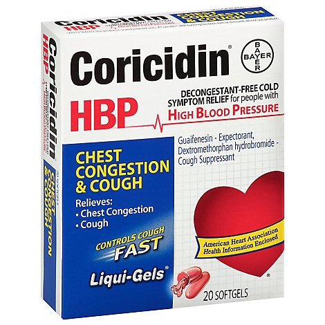 Coricidin HBP Chest Congestion & Cough Liqui-Gels Softgels - 20 Count