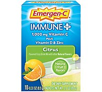 Emergen-C Immune + Citrus Dietary Supplement With Vitamin D Fizzy Drink Mix Vitamin C - 10-0.31 Oz.