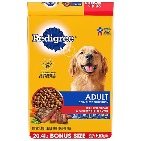 Pedigree Dog Food Dry For Adult Complete Nutrition Grilled Steak & Vegetable - 20.4 Lb