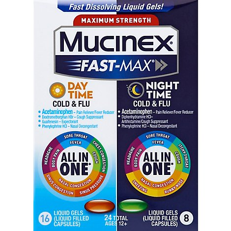 Mucinex Fast-Max Medicine Day Time Severe Cold/Night Time Cold & Flu Liquid Gels - 24 Count