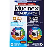 Mucinex Fast-Max Day & Night Cold & Flu Medicine All in One Liquid Gels - 24 Count