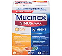 Mucinex Sinus-Max Day & Night Medicine Maximum Strength Liquid Gels - 24 Count