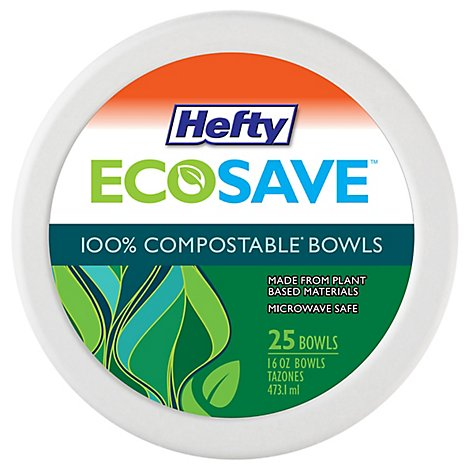 Hefty ECOSAVE 100% Compostable Paper Bowls 16 Ounce White - 25 Count