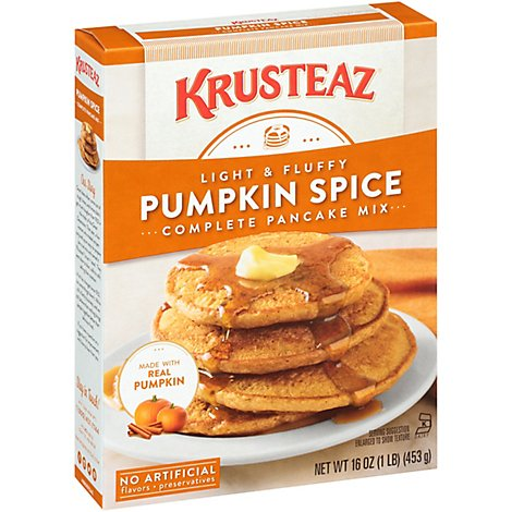 Krusteaz Pancake Mix Complete Pumpkin Spice Light & Fluffy Box - 16 Oz