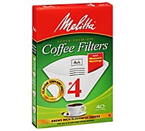 Melitta Coffee Filters Cone No. 4 With Measure Markings - 40 Count