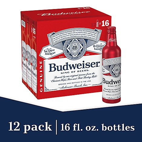 Budweiser Beer Lager In Bottles Aluminum - 12-16 Fl. Oz.