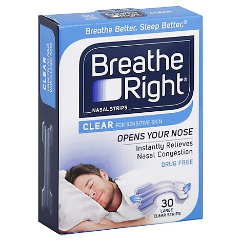 Breathe Right Nasal Strips Clear for Sensitive Skin Large - 30 Count