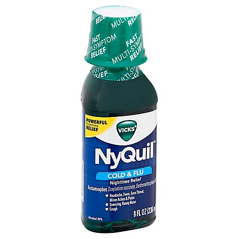 Vicks NyQuil Cold & Flu Relief Nighttime Liquid Original - 8 Fl. Oz.