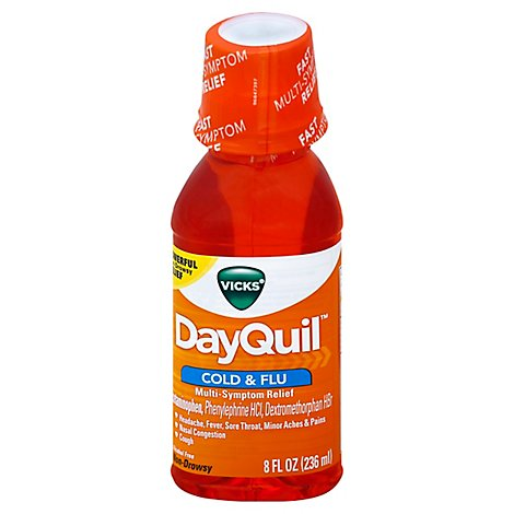 Vicks DayQuil Cold & Flu Relief Multi Symptom Syrup Non Drowsy - 8 Fl. Oz.