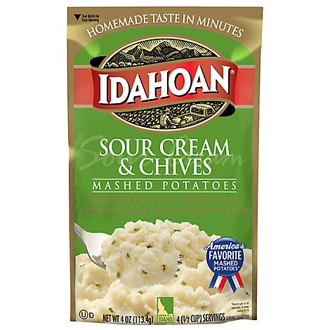 Idahoan Potatoes Mashed Sour Cream & Chives Pouch - 4 Oz