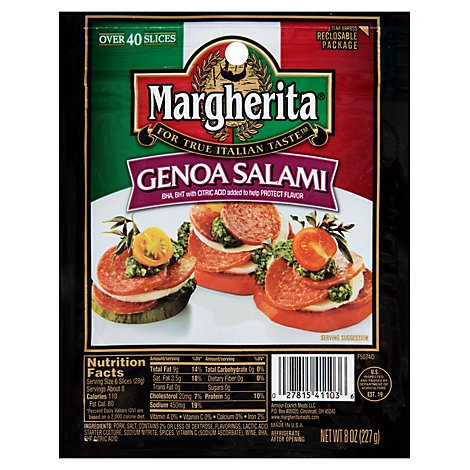 Margherita Pillow Pack Genoa Salami - 8 Oz