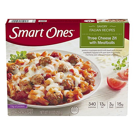 Smart Ones Savory Italian Recipes Meal Three Cheese Ziti Meatballs - 9 Oz