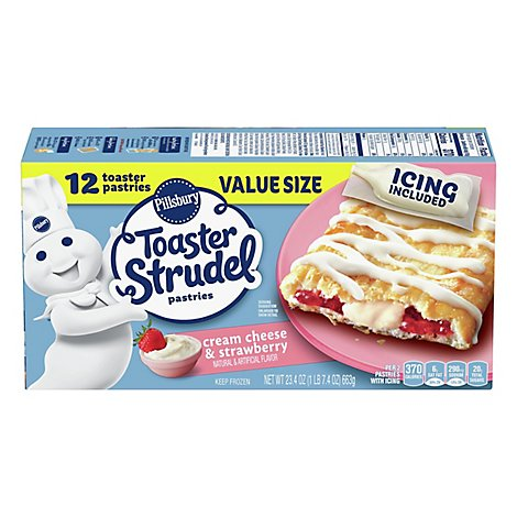 Pillsbury Toaster Strudel Pastries Cream Cheese & Strawberry Value Size 12 Count - 23.4 Oz