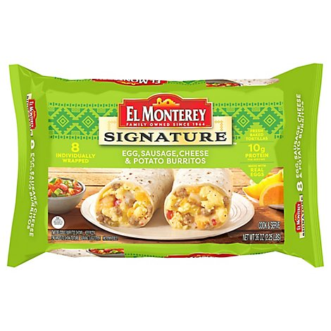 El Monterey Signature Breakfast Burritos Egg Sausage Cheese & Potato 8 Count - 36 Oz
