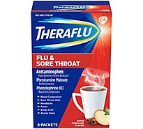 Theraflu Pain Reliever/ Fever Reducer Flu & Sore Throat Apple Cinnamon Flavor - 6 Count