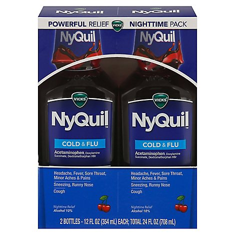 Vicks NyQuil Cold & Flu Medicine Nighttime Relief Liquid Cherry - 2-12 Fl. Oz.