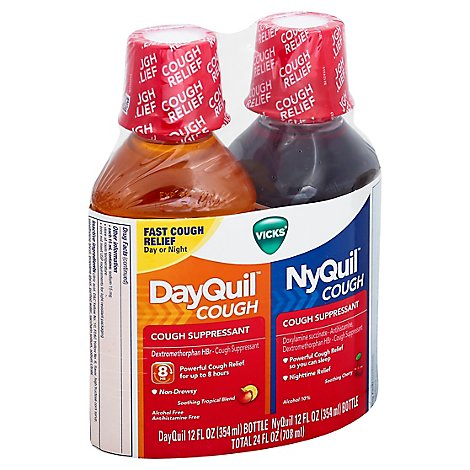 Vicks DayQuil NyQuil Combo Cough Suppressant Syrup - 2-12 Fl. Oz.