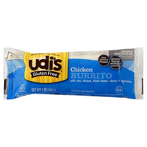 Udis Gluten Free Burrito Rice & Chicken - 5 Oz