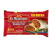 El Monterey Frozen Mexican Burritos Beef & Bean Red Chili Family Size 8 Count - 32 Oz