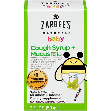 Zarbees Naturals Baby Cough Syrup Plus Mucus With Agave & Ivy Leaf - 2 Fl. Oz.