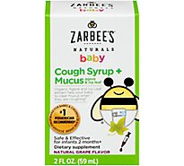 Zarbees Naturals Baby Cough Syrup & Mucus With Agave & Ivy Leaf - 2 Fl. Oz.
