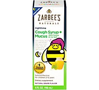 Zarbees Naturals Childrens Cough Syrup + Mucus Nighttime With Dark Honey & Ivy Leaf - 4 Fl. Oz.