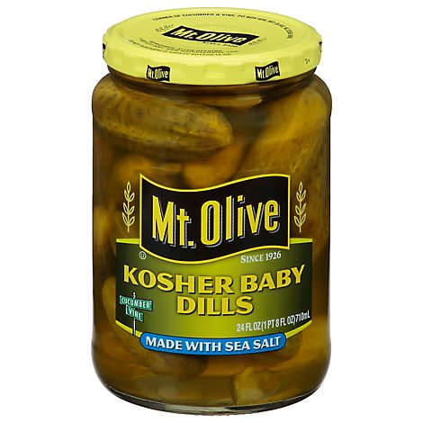 Mt. Olive Pickles Kosher Baby Dills Made with Sea Salt - 24 Fl. Oz.