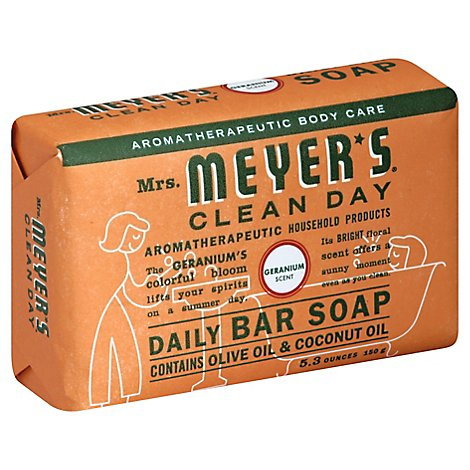 Mrs Meyers Clean Day Bar Soap Daily Geranium Scent - 5.3 Oz