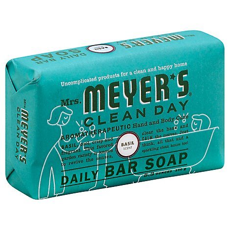 Mrs Meyers Clean Day Soap Daily Bar Basil Scent - 5.3 Oz