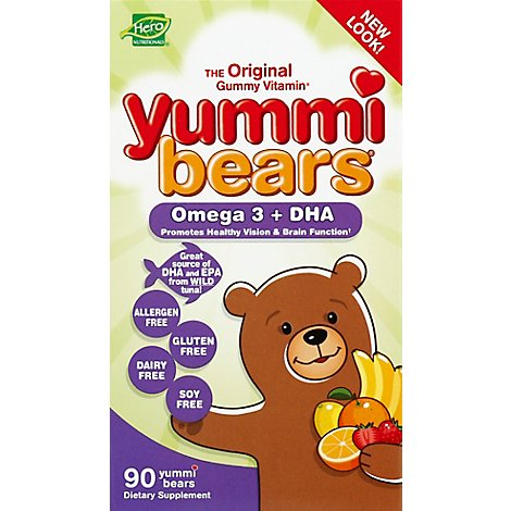 Yummi Bears Omega 3 + DHA Gummy Bears Fruit Flavored - 90 Count