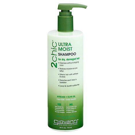 Giovanni 2chic Ultra-Moist Shampoo Avocado & Olive Oil for Dry Damaged Hair - 24 Oz