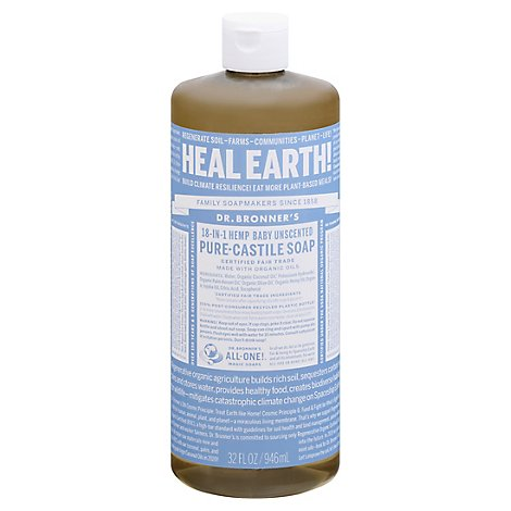Dr. Bronners Liquid Soap Pure-Castile 18-In-1 Hemp Baby Unscented - 32 Fl. Oz.