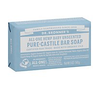 Dr. Bronners Bar Soap Pure-Castile All-One Hemp Baby Unscented - 5 Oz