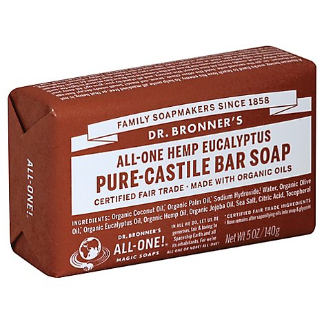 Dr. Bronners Soap Bar Pure Castile All One Hemp Eucalyptus - 5 Oz