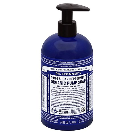 Dr. Bronners Pump Soap Organic 4-In-1 Sugar Peppermint - 24 Fl. Oz.
