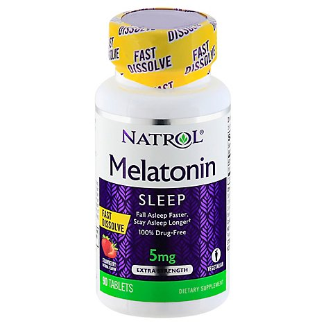 Natrol Melatonin Fast Dissolve 5 mg Strawberry Flavor & Sweeteners - 90 Count