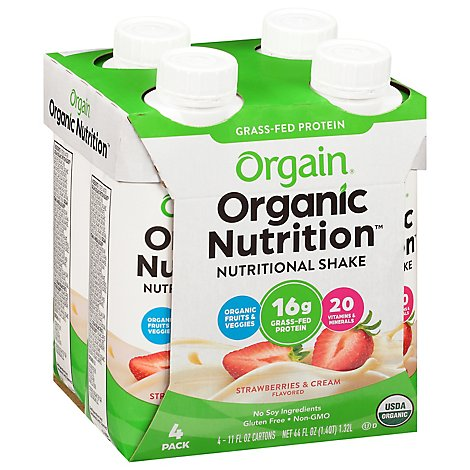 Orgain Nutritional Shake Organic Strawberries & Cream - 44 Oz