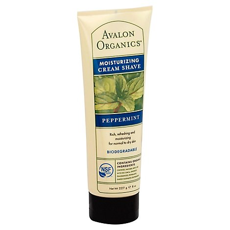 Avalon Organics Cream Shave Moisturizing Peppermint - 8 Oz
