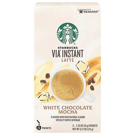 Starbucks VIA Instant Coffee Latte White Chocolate Mocha Packets - 5-1.23 Oz