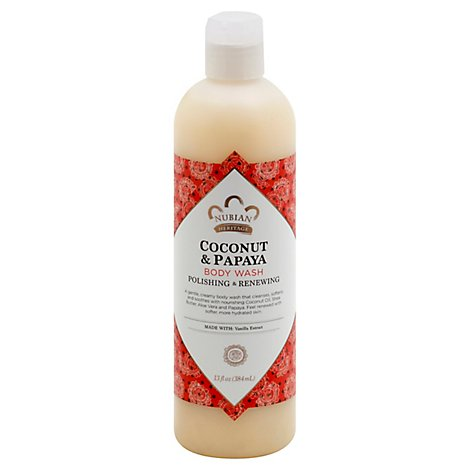 Nubian Heritage Body Wash Coconut & Papaya with Vanilla Bean Extract - 13 Oz