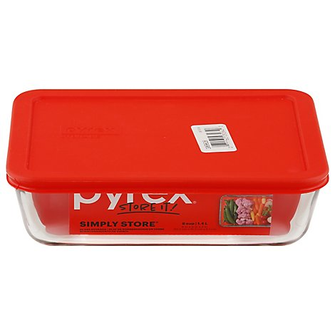Pyrex Simply Store Glass Storage With Red Lid Rectangular 6 Cup - Each