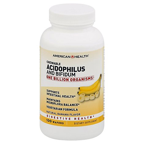 American Health Acidophilus and Bifidum Chewable Wafers Natural Banana Flavor - 100 Count