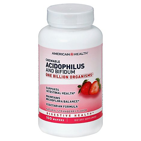 American Health Acidophilus and Bifidum Chewable Wafers Natural Strawberry Flavor - 100 Count