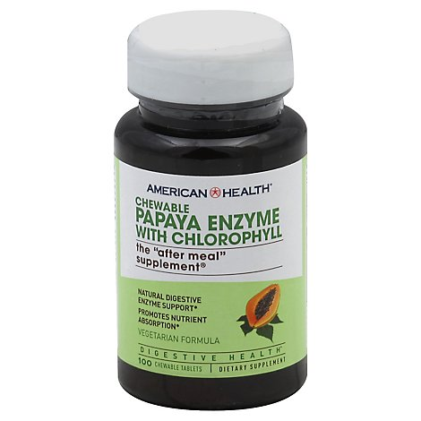American Health Papaya Enzyme with Chlorophyll Vegetarian Formula Chewable Tablets - 100 Count